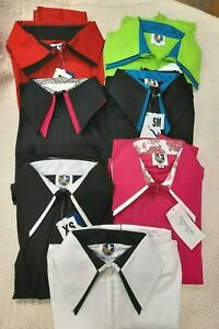 Royal Highness Equestrian Womens Cotton Zip Front Double Collar Show Shirts