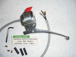 Triumph BSA Norton Handlebar Switch & Clutch Lever Left Hand 2-Pos 5-Wire 39595