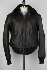 SCHOTT Dark Brown Leather Distressed Sz 46 Bomber Flight Jacket USA