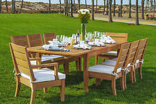"Atnas 9pc Dining 122"" Rectangle Table Chair Set A-Grade Teak Outdoor Patio"