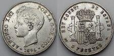 ALFONSO XIII ESPAÑA 1896 *18-96 PGV 5 PESETAS MONEDA PLATA ESCASA MBC/MBC+