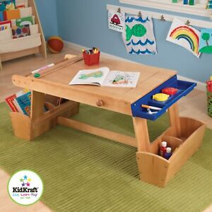 Art Table For Kids with Storage: Drying Rack,Paper Roll, Lidded paint cups incl.
