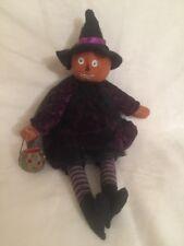 Witch Doll Painted Pumpkin Head Halloween Jack O Lantern Bucket Primitive Art