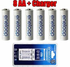 8 Panasonic Eneloop Rechargeable Ni-MH Batteries AA batteries with Charger