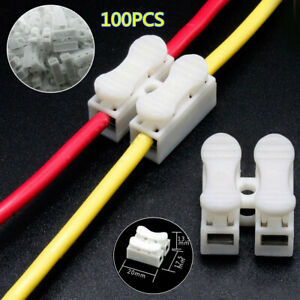 100x2Pin Electrical Cable Connectors Quick Splice Lock Wire Terminals Set Trims