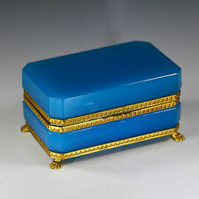 Antique French blue opaline crystal glass hinged Jewelry Box Casket ormolu mount