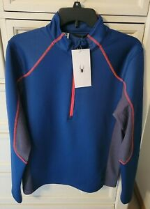 SPYDER Mens Small Halcyon Zip T Neck Abyss New  $149 Retail