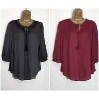 M&S Embroidered Detail Modal Blouse/Top  2 Colours 6 - 20 (ms-254h)