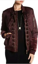 NWT $200 Sam Edelman Front Zip Lace-Up Bomber Jacket - Wine - Sz M