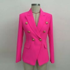 Designer Neon Pink Blazer Gold Buttons Casual Jacet Coat Celebrities Style