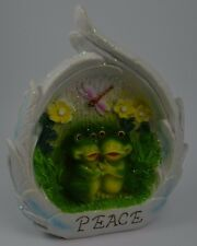 New listing Peace Frogs Sunflower Dragonfly Feathers Outdoor Plaque Garden Figurine Blue