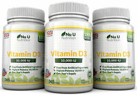 Vitamin D3 10000iu 3 Bottles x 365 Soft Gels High Strength 100% Back Guarantee