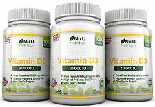 Vitamin D3 10000IU 3 Flaschen 365 Softgel super stark 100% Back Garantie