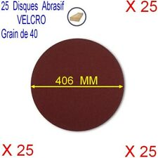 Lot de 25 Disques Velcro Abrasif Ponceuse Sol Ø 406 mm,Grain 40,Auto-Agrippant