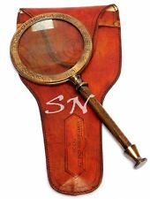 Large 10'' Antique Brass Henry Hughes Magnifying Nautical w Leather Case Decor