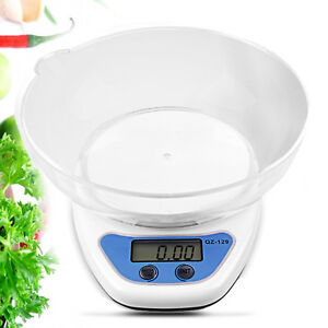5KG DIGITAL KITCHEN SCALES LCD ELECTRONIC COOKING FOOD MEASURING BOWL SCALE UK