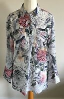 Per Una Size 8 Ladies White Blouse Top With Multicoloured Floral Print BNWT