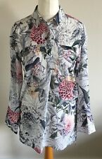 Per Una Size 8 Ladies White Blouse Top With Multi Coloured Floral Print BNWT