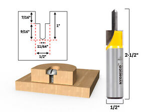 "Counter Bore & Screw Slot Router Bit - 1/2"" Shank - Yonico 14198"