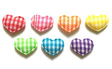 100 pcs Cute Small Gingham Heart Padded Appliques Mix colors size 10 x 15 mm
