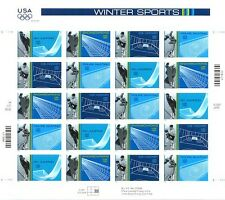 WINTER SPORTS WINTER OLYMPICS STAMP SHEET -- USA #3552-3555, 34 CENT 2002