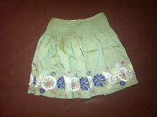 NWOT DKNY Girls Olive Drab Army Green Embroidered & Smocked Lined Skirt Size 12