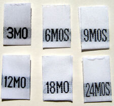 250 pcs MIXED WOVEN INFANT CLOTHING LABELS - 3 6 9 12 18 24 MONTHS (41pcs each)