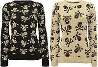 New Womens Skull Bones Print Long Sleeve Top Ladies Knitted Sweater Jumper 8-14