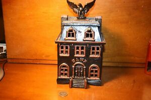 Rare Architectural Cast Iron Large BUILDING WITH EAGLE Bank Hard To Find Piece