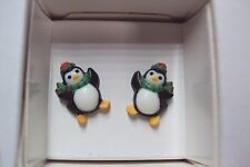 vintage petite Christmas Penguin with hat scarf kids stud earrings Avon holiday
