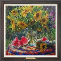 "Hand painted Original Oil Painting art Portrait Sunflower on Canvas 30""x30"""