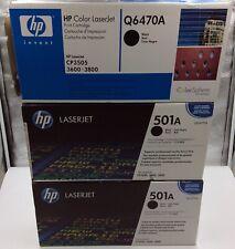 (3) Genuine HP (501A) Toner Cartridge  Q6470A Black Laserjet CP3505, 3600, 3800