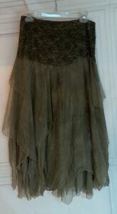 NWT Free People Brenda Knight Fairy Chiffon Skirt Moss Sz S