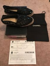 Chanel Espadrille 37 6.5/7 Lace Black Patent Preowned Flat Shoes Authentic