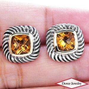 David Yurman Citrine 14K Gold Sterling Silver Cable Stud Earrings 8.7 Grams NR