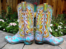Custom Hand Painted Vintage HYER Leather Cowboy Boots Distressed Pastel 7 M