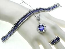 Tanzanite Complete Set. Bracelet, Earrings, Necklace and Ring  Sterling Silver