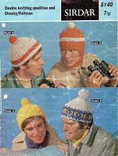 ~ Vintage 1970's Knitting Pattern For Men's Hats & Balaclava ~