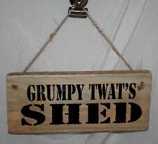 GRUMPY TWAT'S SHED Adult Rude Hanging Door Sign Plaque Home Office Den Garage
