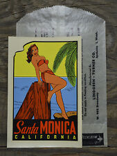 ORIGINAL VINTAGE SANTA MONICA CALIFORNIA TRAVEL DECAL PINUP BEACH WOODY OLD CAR