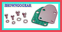 "SBC CHROME FUEL PUMP BLOCK OFF PLATE ""KIT"" HOTROD DRAG HOLDEN MONARO KINGSWOOD"