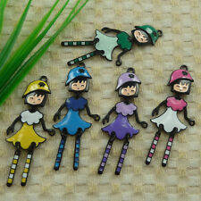 free ship 13 pieces alloy enamel mixed colors girl charms pendant 61x26mm #4494