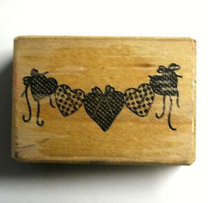 """PSX Rubber Stamp Scrapbook PaperCraft Five Heart Garland String 2"""" x 1.5"""""""