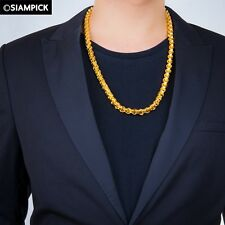 """Big Heavy 26"""" 12mm 24K Thai Craft Gold Plated Rolo Chain Necklace MEN GIFT Jewel"""