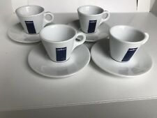 Blue LavAzza Coffee Cappucino Expresso Set 4 Cups Saucers DISCONTINUED Italy