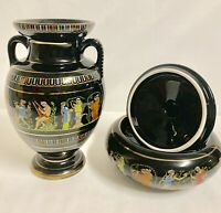 Adis Hand Made In Greece 24.c gold Decorated Hand made vase & Cup/lid