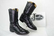 JUSTIN L3703 Womens 7.5A Pull On Western Cowboy Roper Boots Black Kipskin A106
