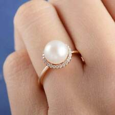 Fashion Rose Gold Filled Women's Wedding Rings Round Cut White Pearl Size 9