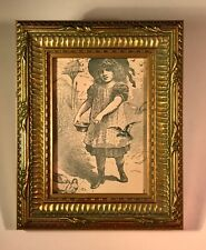 "Framed Victorian Book Plate from 1897 Book ""Comrades at Play"" Girl with Birds"