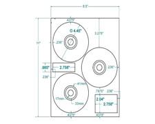 300 CD/DVD Labels Hewlett Packard® 3up  312737